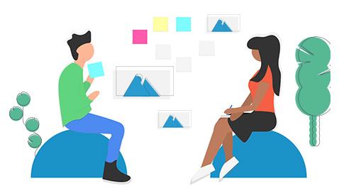 Illustration meeting avec client